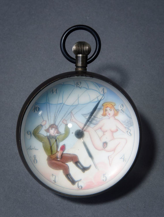 Picture of Man with Parachute and Angel Ball Clock